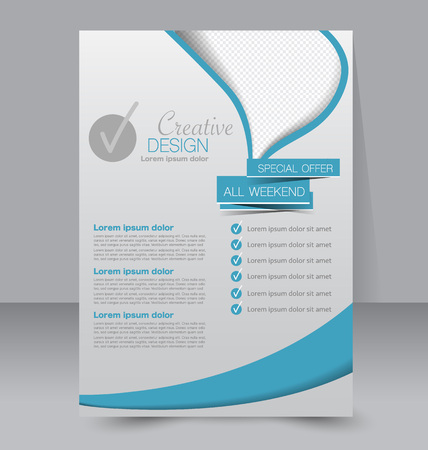 Flyer template. Business brochure. Editable A4 poster for design, education, presentation, website, magazine cover. Blue color.