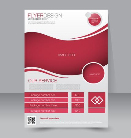 magazine design: Flyer template. Business brochure. Editable A4 poster for design, education, presentation, website, magazine cover. Red color.