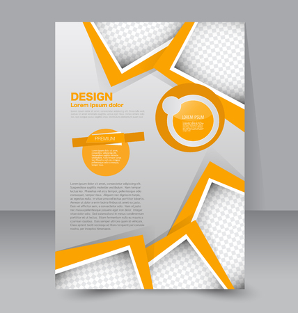 Template for brochure or flyer. Editable A4 poster for business, education, presentation, website, magazine cover. Orange color.