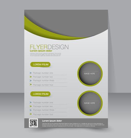 magazine design: Flyer template. Business brochure. Editable A4 poster for design, education, presentation, website, magazine cover. Green color.