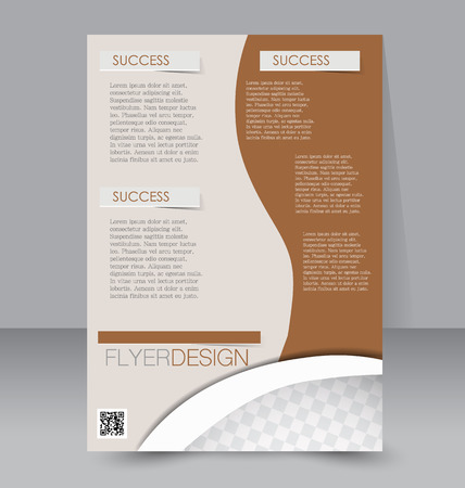 Template for brochure or flyer. Editable A4 poster for business, education, presentation, website, magazine cover. Brown color. Ilustração