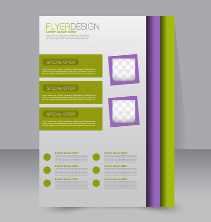 media background: Flyer template. Business brochure. Editable A4 poster for design, education, presentation, website, magazine cover. Purple and green color.