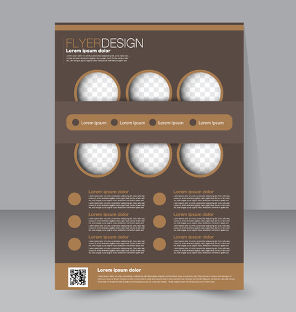 Flyer template. Business brochure. Editable A4 poster for design, education, presentation, website, magazine cover. Brown color. Illustration
