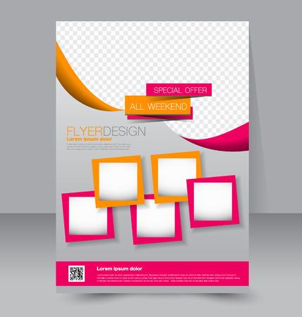 Flyer template. Business brochure. Editable A4 poster for design, education, presentation, website, magazine cover. Pink and orange color.