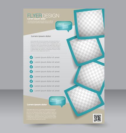 Brochure design. Flyer template. Editable A4 poster for business, education, presentation, website, magazine cover. Green color.