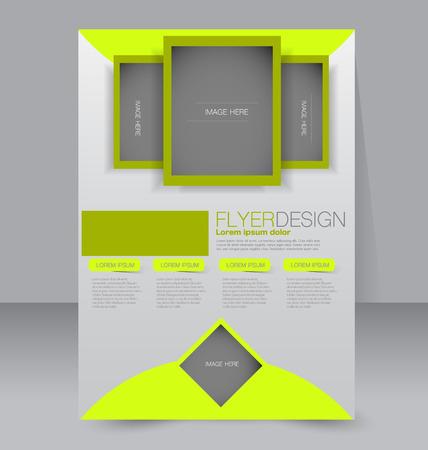 magazine design: Brochure design. Flyer template. Editable A4 poster for business, education, presentation, website, magazine cover. Green color.