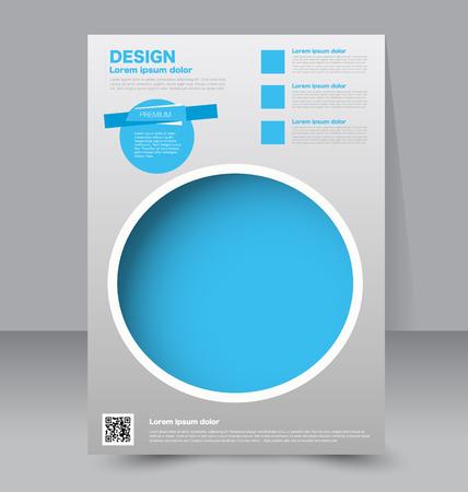 magazine design: Flyer template. Business brochure. Editable A4 poster for design, education, presentation, website, magazine cover. Blue color.