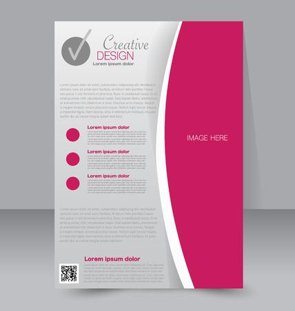 Diseño de folletos. Plantilla del aviador. cartel A4 editable para los negocios, la educación, la presentación, sitio web, portada de una revista. Color rosa.