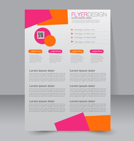 page layout: Brochure design. Flyer template. Editable A4 poster for business, education, presentation, website, magazine cover. Pink and orange color. Illustration