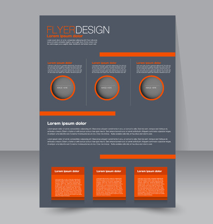Flyer template. Business brochure. Editable A4 poster for design, education, presentation, website, magazine cover. Orange and grey color. Illustration