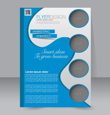 magazine design: Brochure design. Flyer template. Editable A4 poster for business, education, presentation, website, magazine cover. Blue color.