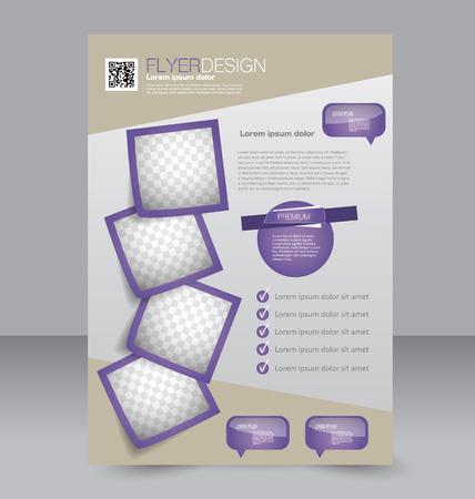 Brochure design. Flyer template. Editable A4 poster for business, education, presentation, website, magazine cover. Purple color.  イラスト・ベクター素材