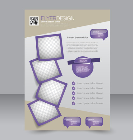 Brochure design. Flyer template. Editable A4 poster for business, education, presentation, website, magazine cover. Purple color. Ilustração