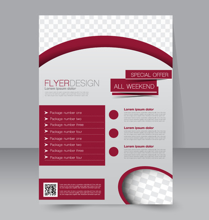 paper background: Flyer template. Business brochure. Editable A4 poster for design, education, presentation, website, magazine cover. Red color.