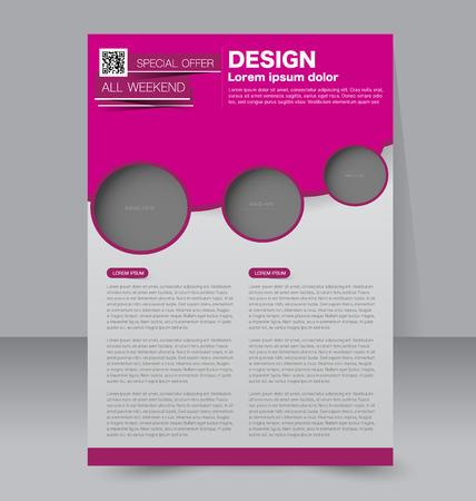 magazine design: Brochure design. Flyer template. Editable A4 poster for business, education, presentation, website, magazine cover. Red color.