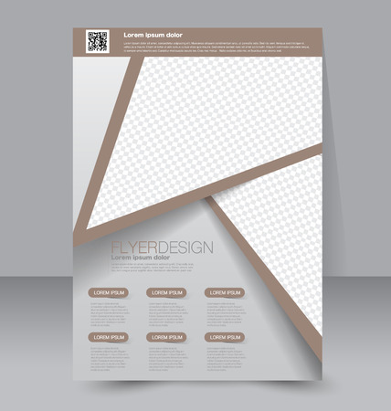 magazine design: Flyer template. Business brochure. Editable A4 poster for design, education, presentation, website, magazine cover. Brown color. Illustration