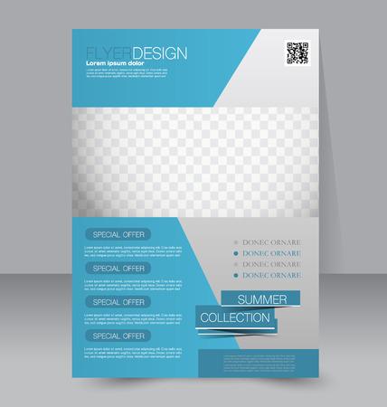 Modèle Flyer. brochure d'affaires. Affiche A4 modifiable pour la conception, de l'éducation, de présentation, site internet, couverture de magazine. Couleur bleue.