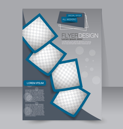 template: Brochure design. Flyer template. Editable A4 poster for business, education, presentation, website, magazine cover. Blue color.