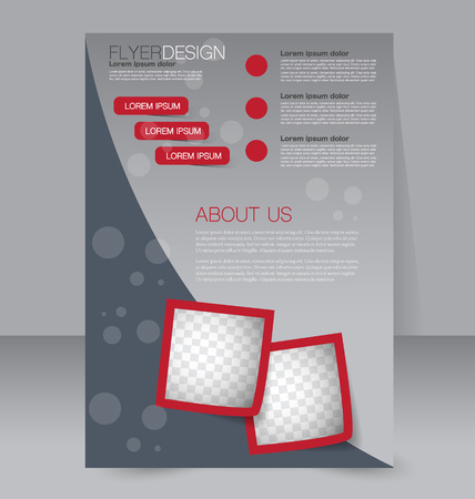 background graphic: Brochure design. Flyer template. Editable A4 poster for business, education, presentation, website, magazine cover. Red color.