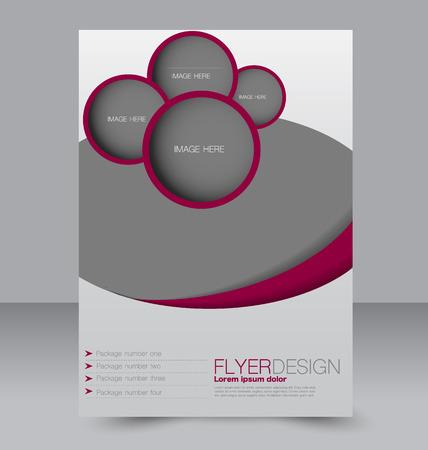 magazine design: Brochure design. Flyer template. Editable A4 poster for business, education, presentation, website, magazine cover. Purple color. Illustration