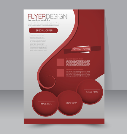 brochure cover: Flyer template. Business brochure. Editable A4 poster for design, education, presentation, website, magazine cover. Red color.