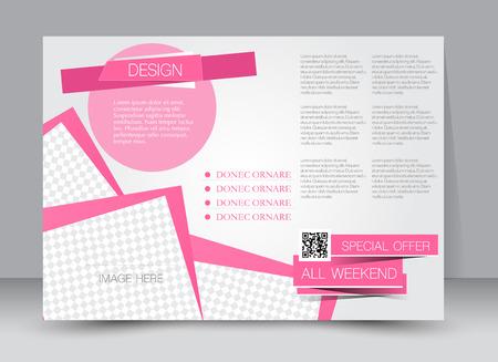 brochure cover: Flyer, brochure, magazine cover template design landscape orientation for education, presentation, website. Pink color. Editable vector illustration.