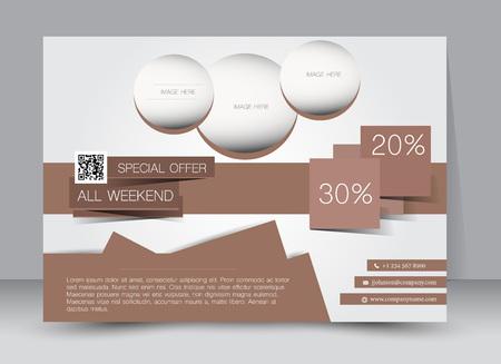 illustration editable: Flyer, brochure, magazine cover template design landscape orientation for education, presentation, website. Brown color. Editable vector illustration.