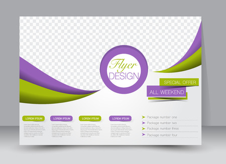green and purple: Flyer, brochure, magazine cover template design landscape orientation for education, presentation, website. Purple and green color. Editable vector illustration. Illustration