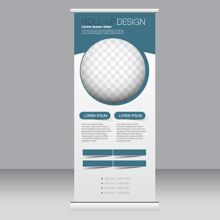 Roll up banner stand template. Abstract background for design,  business, education, advertisement. Blue color. Vector  illustration. Stock Illustratie