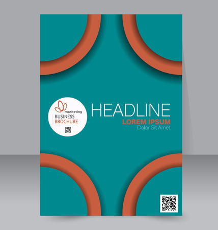 handout: Abstract flyer design background. Brochure template. Can be used for magazine cover, business mockup, education, presentation, report. Green and orange color.
