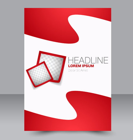 double page: Abstract flyer design background. Brochure template. Can be used for magazine cover, business mockup, education, presentation, report. Red color. Illustration