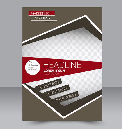 double page: Abstract flyer design background. Brochure template. Can be used for magazine cover, business mockup, education, presentation, report. Red and brown color. Illustration