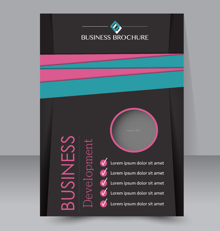 Abstract flyer design background. Brochure template. Can be used for magazine cover, business mockup, education, presentation, report. Black, blue and pink color.