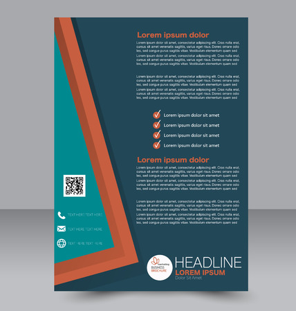 double page: Abstract flyer design background. Brochure template. Can be used for magazine cover, business mockup, education, presentation, report. Orange and green color. Illustration