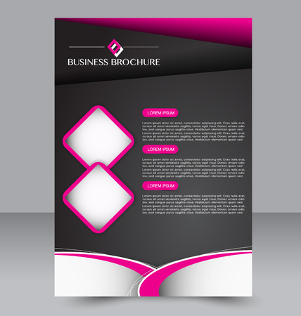 Abstract flyer design background. Brochure template. Can be used for magazine cover, business mockup, education, presentation, report. Black and pink color.