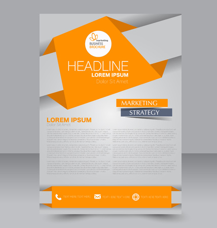 brochure cover: Abstract flyer design background. Brochure template. Can be used for magazine cover, business mockup, education, presentation, report. Orange color. Illustration