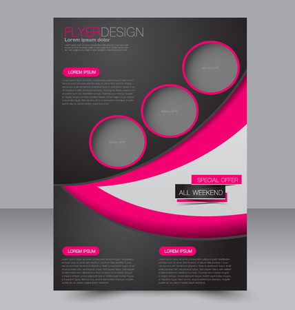 two page: Abstract flyer design background. Brochure template. Can be used for magazine cover, business mockup, education, presentation, report. Pink and black color. Illustration