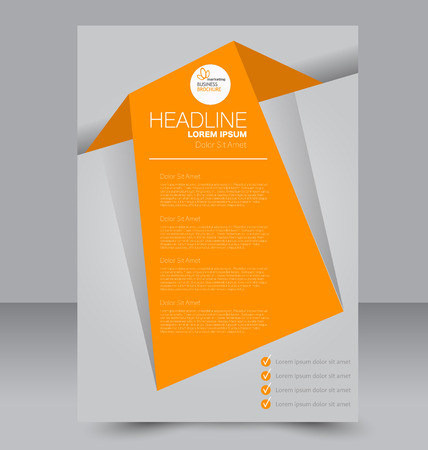 corporate brochure: Abstract flyer design background. Brochure template. Can be used for magazine cover, business mockup, education, presentation, report. Orange color. Illustration