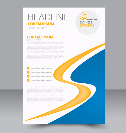 double page: Abstract flyer design background. Brochure template. Can be used for magazine cover, business mockup, education, presentation, report. Blue and yellow color.