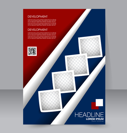 handout: Abstract flyer design background. Brochure template. To be used for magazine cover, business mockup, education, presentation, report.  Blue and red color.