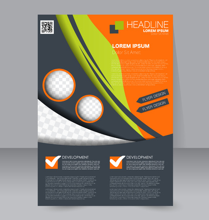 handout: Abstract flyer design background. Brochure template. To be used for magazine cover, business mockup, education, presentation, report.  Green, orange, and grey color. Illustration