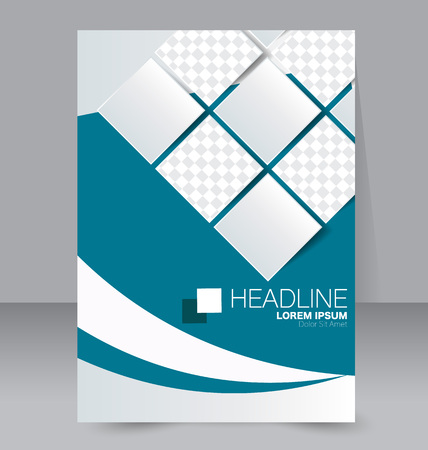 handout: Abstract flyer design background. Brochure template. To be used for magazine cover, business mockup, education, presentation, report.  Blue color.