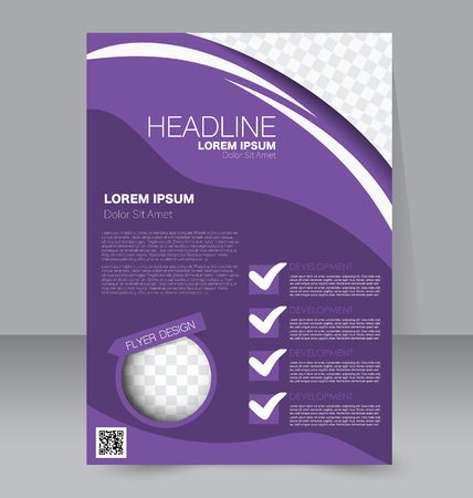 Abstract flyer design background. Brochure template. To be used for magazine cover, business mockup, education, presentation, report.  Purple color. Stock Illustratie