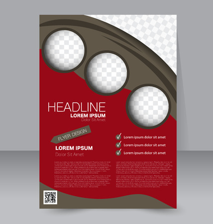double page: Abstract flyer design background. Brochure template. To be used for magazine cover, business mockup, education, presentation, report.  Red and brown color.