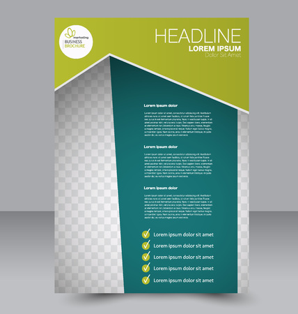 double page: Abstract flyer design background. Brochure template. To be used for magazine cover, business mockup, education, presentation, report. Green color. Illustration