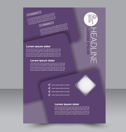 two page: Abstract flyer design background. Brochure template. To be used for magazine cover, business mockup, education, presentation, report. Purple color.