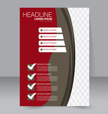 handout: Abstract flyer design background. Brochure template. To be used for magazine cover, business mockup, education, presentation, report.  Red and brown color.