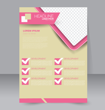 double page: Abstract flyer design background. Brochure template. To be used for magazine cover, business mockup, education, presentation, report. Pink and yellow color.