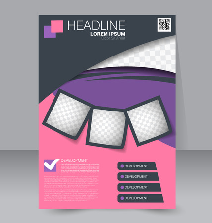 Abstract flyer design background. Brochure template. To be used for magazine cover, business mockup, education, presentation, report.  Pink, purple and grey color.
