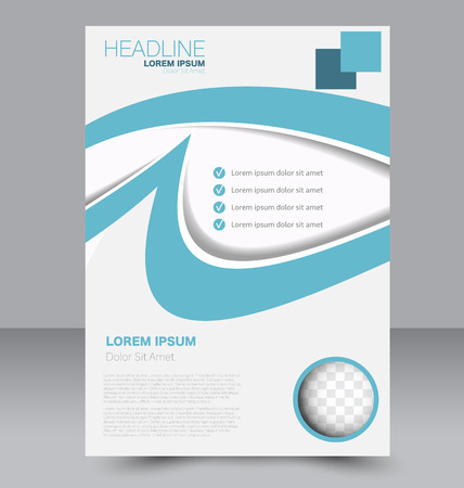 double page: Abstract flyer design background. Brochure template. To be used for magazine cover, business mockup, education, presentation, report.  Blue color.
